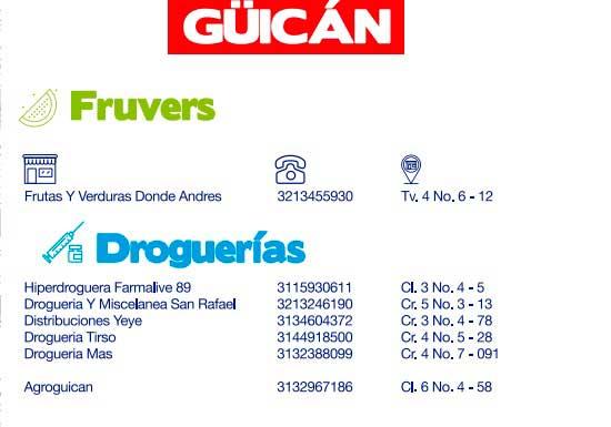 Directorio de abastecimiento Güicán, Boyacá, Provincia de Gutiérrez