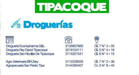 Directorio de abastecimiento Tipacoque, Boyacá, Provincia Norte